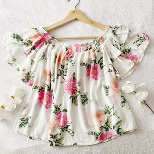 AEO Floral Off Shoulder Top (FIRM PRICE)